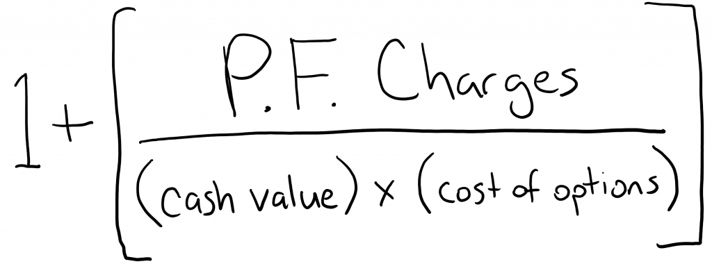 Formula of how Pacific Life's Pacific Discovery Xcelerator (PDX) multiplies IUL crediting over and above the cap